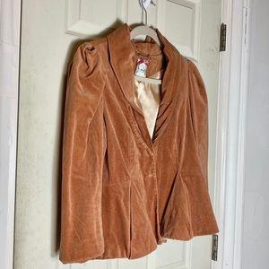 Yoanna Baraschi orange blazer faux suedeM euc